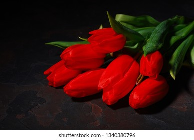 Bunch of red tulips on a dark background