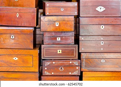 Bunch of retro and vintage wooden boxes
