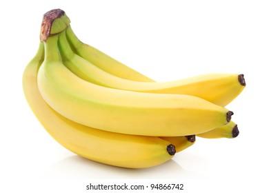 Bunch of ripe banana fruits isolated on white background