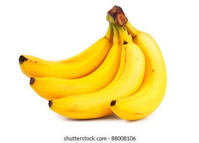 A bunch of ripe bananas on white background