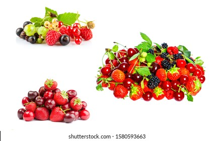 Bunch of ripe berries isolated on white. Strawberry, gooseberry, cherry, red currant, blueberry. Juicy fresh berries