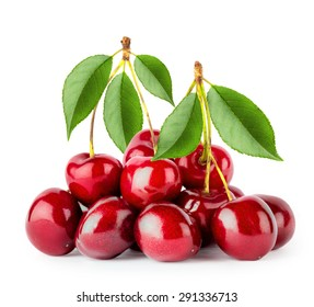Bunch of ripe cherries with leaves isolated on white background