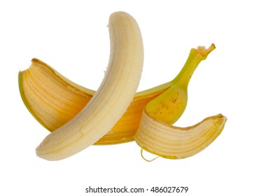 Bunch of ripe and fresh bananas isolated on white background