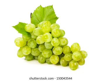 bunch of ripe green grapes isolated on white