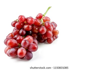 bunch of ripe and juicy red grapes isolated on white background