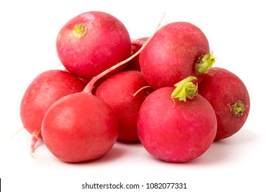 Bunch of ripe radishes on a white. isolated