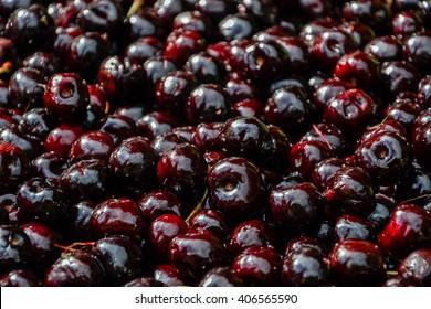 Bunch of ripe sweet fresh red cherries. Cherry backgorund