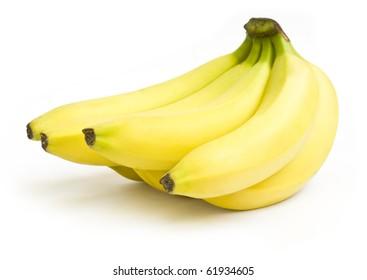 Bunch of ripe yellow bananas on white background