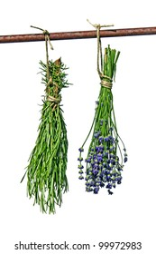 bunch rosemary and lavender hanging on a rod
