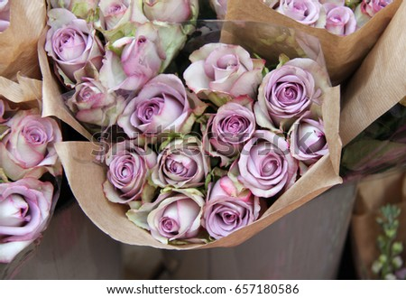 Bunch Roses Flowers Wrapped Brown Paper Stock Photo Edit Now