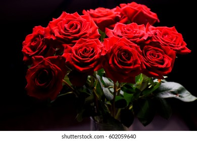 Bunch of roses with stem leaves and black background and variant light