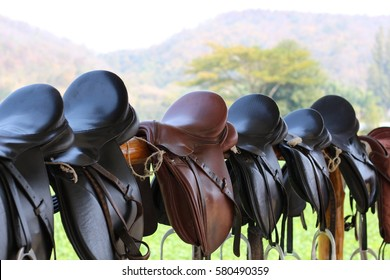 a bunch of saddle hanging on fence with a mountain and grass field for background