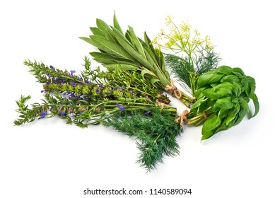 Bunch of sage, thyme, dill, hyssop and basil, isolated on white background.