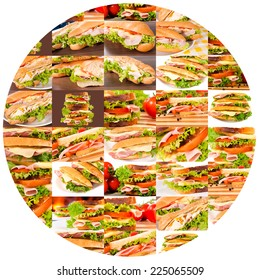 Bunch of sandwiches in circle isolated on white background