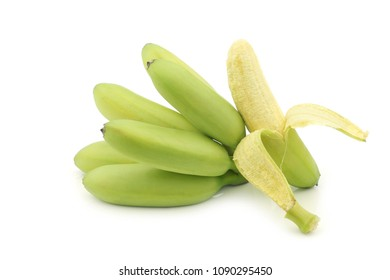 a bunch of small snack bananas and a peeled one on a white background