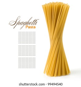 Bunch of spaghetti  isolated on white
