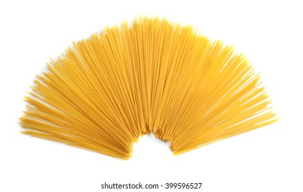Bunch of spaghetti on white background, top view