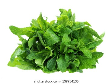 a bunch of spearmint isolated on white