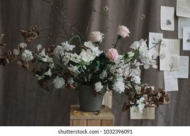 Bunch of spring flowers. Wedding decoration. Still life on dark background