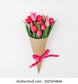 Bunch of spring tulip flower. flat lay, top view