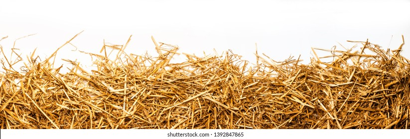 a bunch of straw as border, isolated with white background