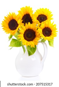 bunch of sunflowers isolated on a white background