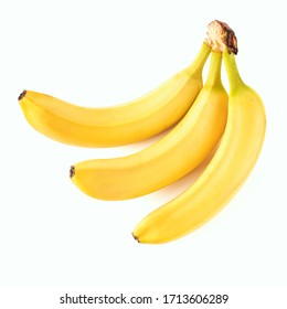a bunch of three ripe yellow bananas on a white background isolate