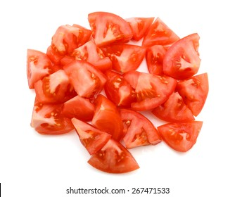 a bunch of tomato slices isolated on white