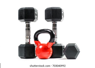 Bunch of training weights isolated on white background. Dumbbells, kettlebell...