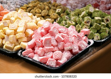 Bunch of turkish delight arrangement plates on table
