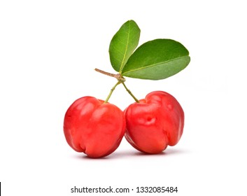 Bunch of two Acerola Cherries with leaves isolated on white, High vitamin C and Antioxidant fruits