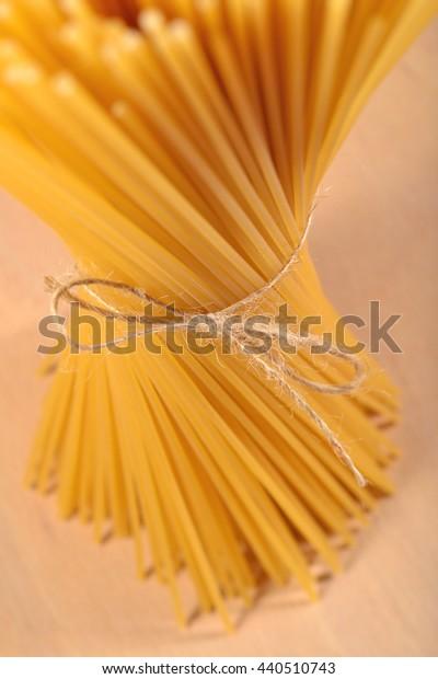 Bunch of uncooked Italian pasta spaghetti