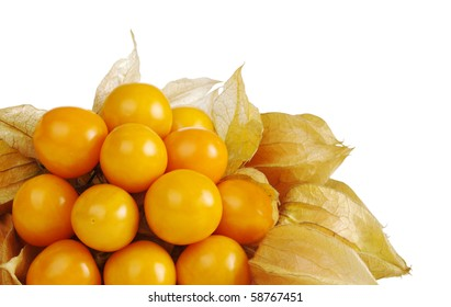 A bunch of vitamin-packed orange physalis isolated on white (Selective Focus)