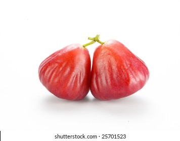 A bunch of wax apple, (bell fruit, bell apple, Java apple)