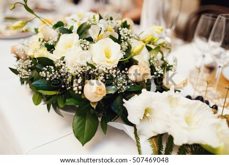 Bunch white flowers on wedding table stock photo edit now bunch of the white flowers on the wedding table mightylinksfo
