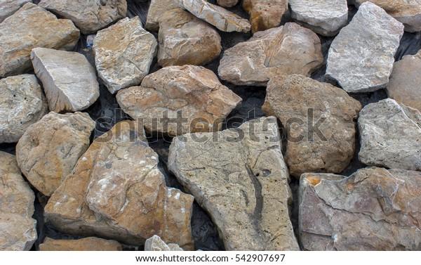 bunch of wild stone rubble, marble, limestone, travertine close-up