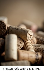 A bunch of wine corks with above some room for text.