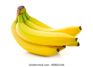 Bunch of yellow banana fruits isolated on white background