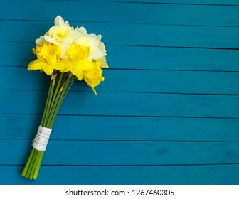 Bunch of yellow narcissus or daffodil flowers on turquoise wooden background. Selective focus. Place for text. Flat lay. Mother's day, easter, birthday