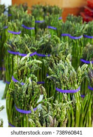 Bunches of asparagus at farmers market