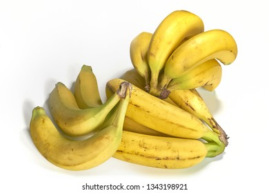 Bunches of Bananas Isolated on White Background