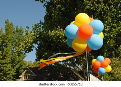 Bunches Of Colorful Balloons In Blue Sky