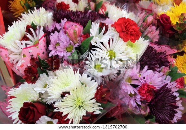 Bunches Flowers Wrapped Valentine Cellophane Bouquets Stock