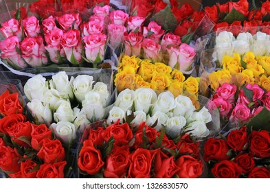 bunches of mulit colored roses at a market, wrapped in transparent plastic