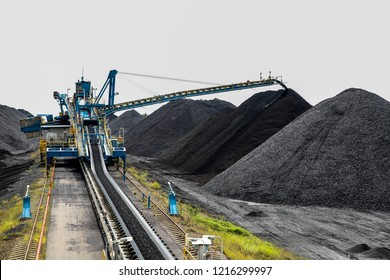 Bunchs of coal at stockpile