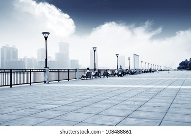 The Bund, Shanghai, China, air pollution caused by the gray sky.