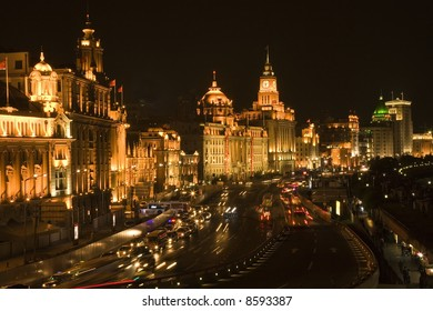 The Bund, Shanghai, China At Night Trademarks removed