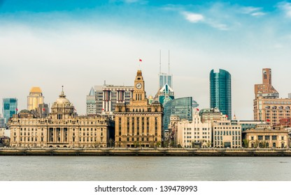 the bund waterfront hangpu river shanghai china