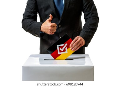 Bundestag election in Germany, man with ballot, isolated