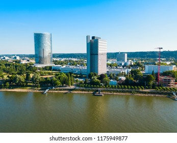 Bundesviertel federal government district aerial panoramic view in Bonn city in Germany